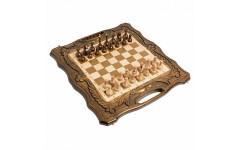 Шахматы + нарды резные c Араратом 50 с ручкой Haleyan